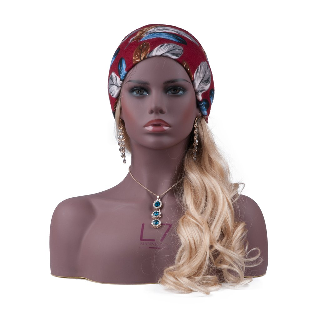 L7 Mannequin Black Realistic Mannequin Manikin Head bust with Partial Cheat for Wigs, Hats, Sunglasses by L7 MANNEQUIN