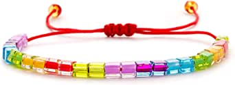 Beaded String Bracelets Rainbow Bracelets - Miyuki Bead Bracelets for Women