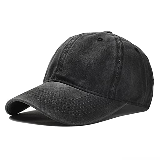 Vapelas Baseball Cap Athletic Fitted Unisex Adjustable Washed Cotton Ball  Hat for Man and Woman Black e70620799ed