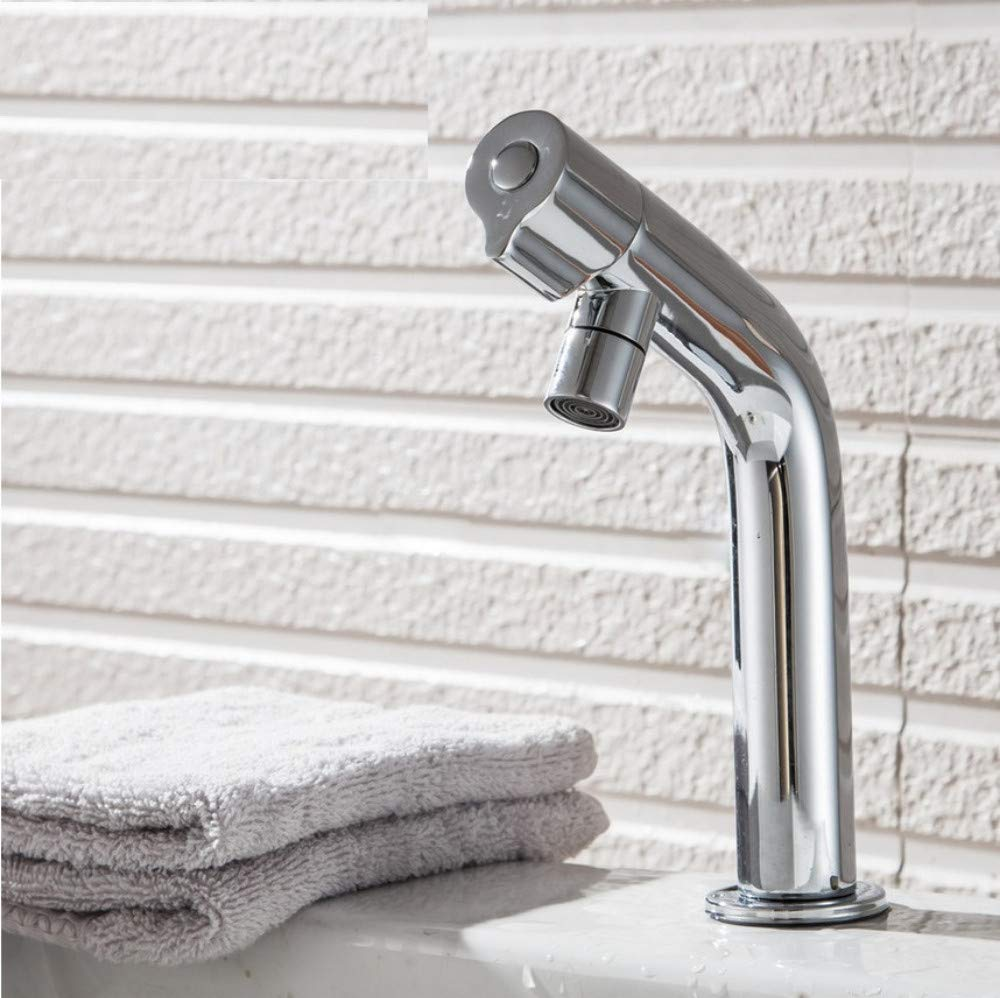 Dwthh New Bath Basin Faucet Brass Chrome Faucet Brush Nickel Sink Mixer Tap Vanity Cold Water Bathroom Faucets