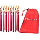 HUKOER 8 pcs Garden Stakes Metal Tent Stakes Pegs Triangular Nails 7 inch Heavy Duty Tri-Beam Pegs Ground Stakes with Pouch for Garden, Outdoors, Hike, Hammock and Beach