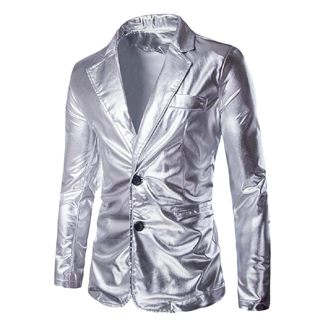 Abetteric Men Shiny Wedding Party Suit Blazer Jacket & Flat Pants Set