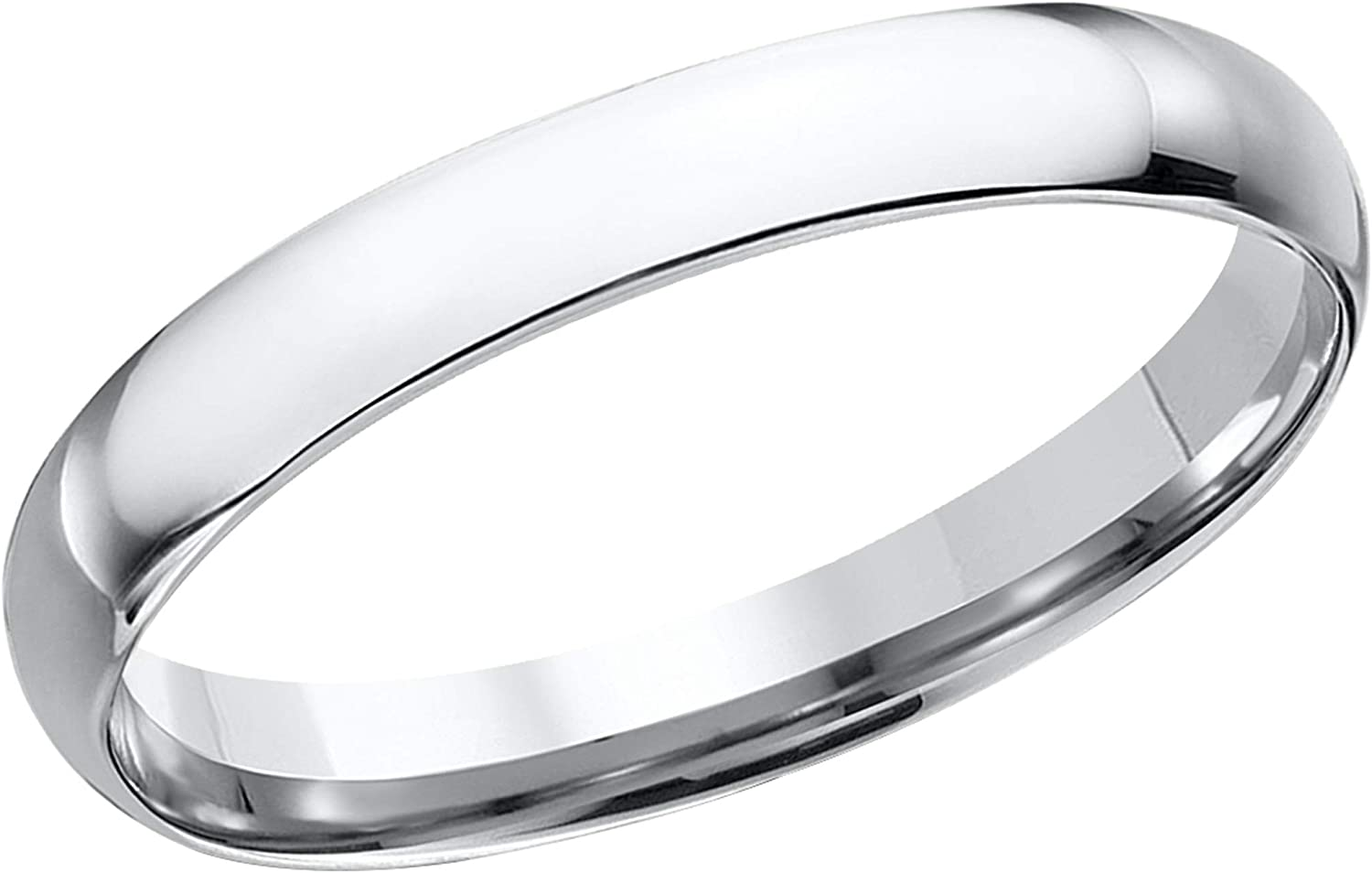 Size 9.5 Prism Jewel 3.30mm D Shape Plain Stackable Wedding Band White Gold Plated Silver
