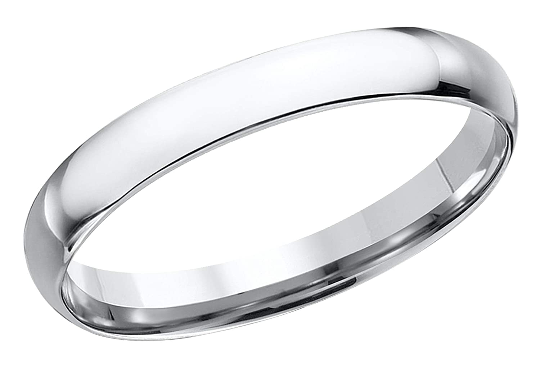14k White Gold Size 13 Prism Jewel 3.30mm D Shape Plain Stackable Wedding Band