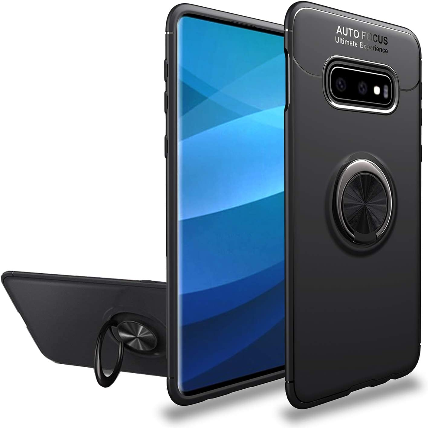 Newseego Compatible with Samsung Galaxy A50 Case Frosting Thin Soft Protective and 360/° Adjustable Finger Ring Holder Kickstand Fit Magnetic Car Mount-Blue+Blue