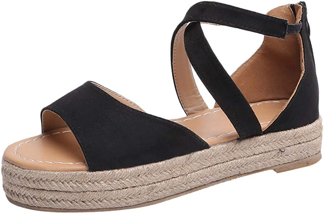 Womens Platform Peep Toe Woven Zipper Flat Thick-Bottom Sandals Roman,Blue,7.5,