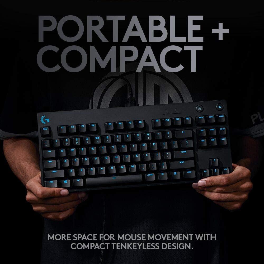Logitech G Teclado mecánico PRO para juegos, diseño ultra portátil Tenkeyless, cable micro USB desmontable, 16,8 millones de teclas retroiluminadas ...