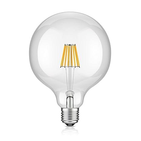 LED Bombilla Vintage Edison E27 4 W, 8 W G125 Globe Bombilla de bajo consumo