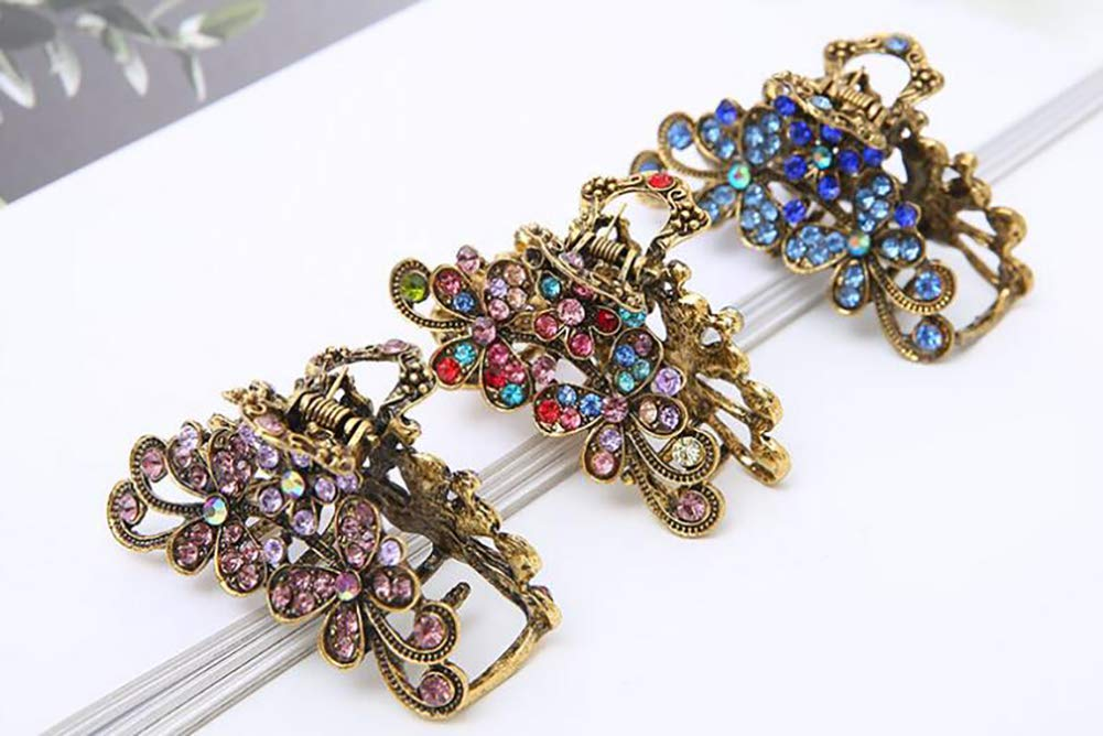 Retro Flowers Hair Claw Clip for Women Lady Girls Vintage Alloy Rhinestone Hair Jaw Clips Hairpin Fancy Hair Clamp (Blue) Fodattm