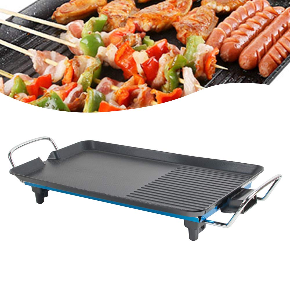 ixaer 2-in-1 Electric Reversible Grill with Non-Stick Grill Plate, Adjustable Temperature Control, 1500W Electric Grill Indoor Outdoor