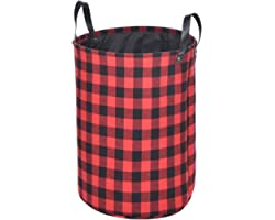 Haundry Collapsible Laundry Basket with Durable Leather Handles, 22''Tall X-Large Round Laundry Hamper for Clothes Storage