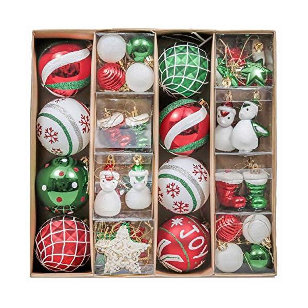Valery Madelyn Palle di Natale 60 Pezzi di Palline di Natale, 3-4 cm Collezione Classica Ornamenti di Palle di Natale Infrangibili Rosso Verde e Bianco per la Decorazione Dell'Albero di Natale 1 spesavip