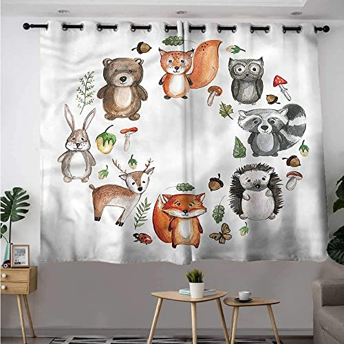 Woodland Grommet Curtains Animals of Forest Acorn Grommet Curtains for Bedroom W 63 XL 45