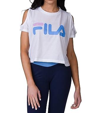 f73e06728f4324 Fila Women s Nikki Crop Cold Shoulder Top at Amazon Women s Clothing ...