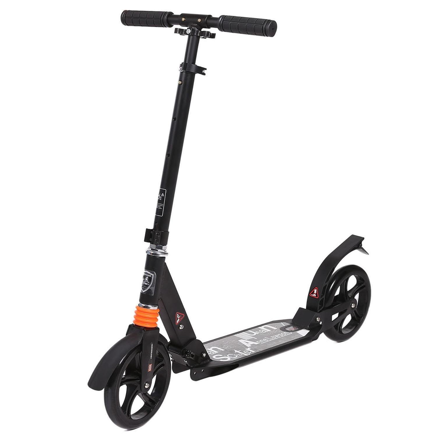 Adults Foldable Kick Scooter Lightweight Height Adjustable Aluminum Alloy T-Style Design(US STOCK)