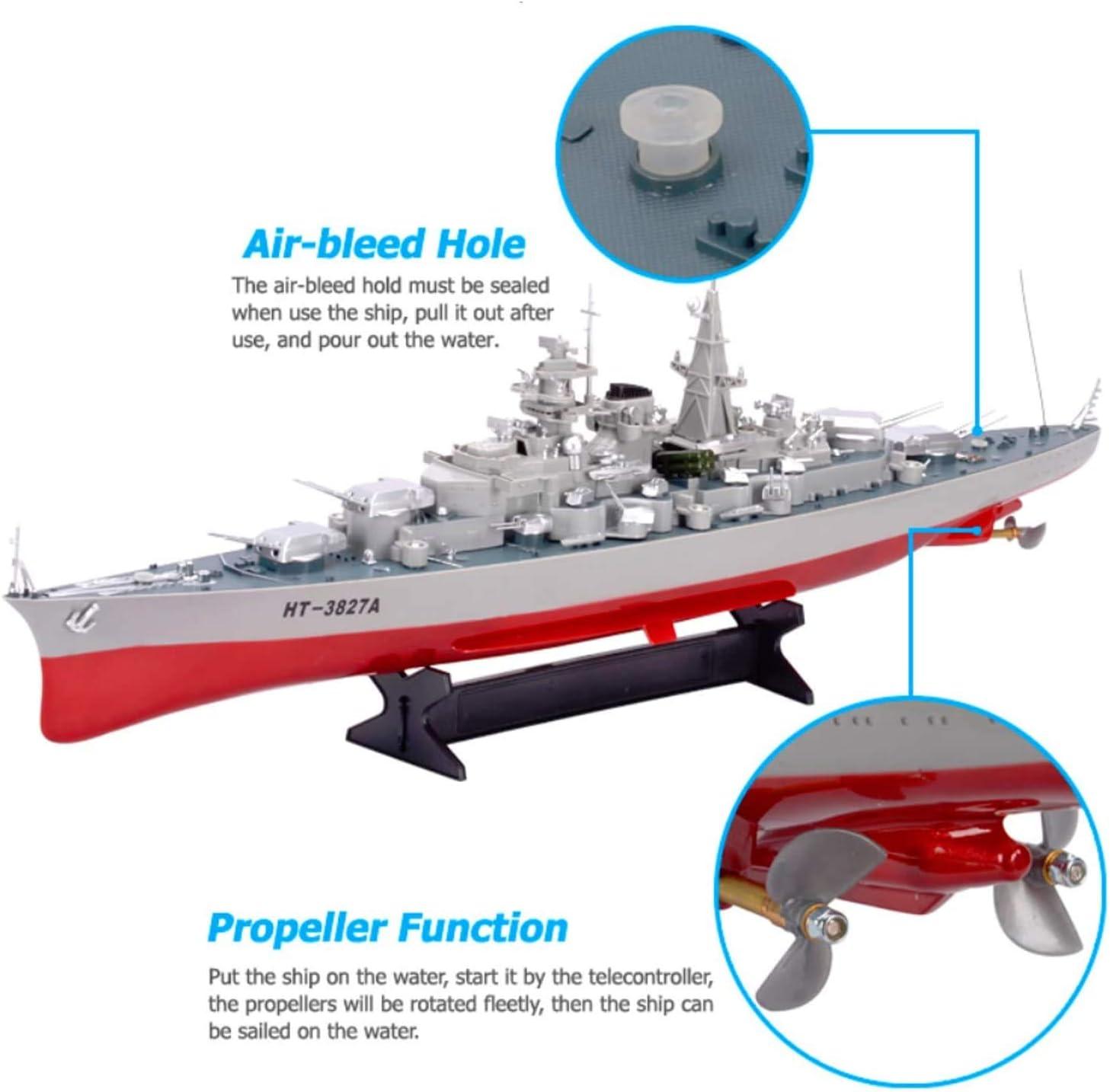 Barca del RC Ad Alta velocit/à Modello di Serie Militare Battleship 1//360 RC Nave da Guerra Cruiser Simulazione Corazzata Bismarck Come Regalo per I Bambini del Giocattolo