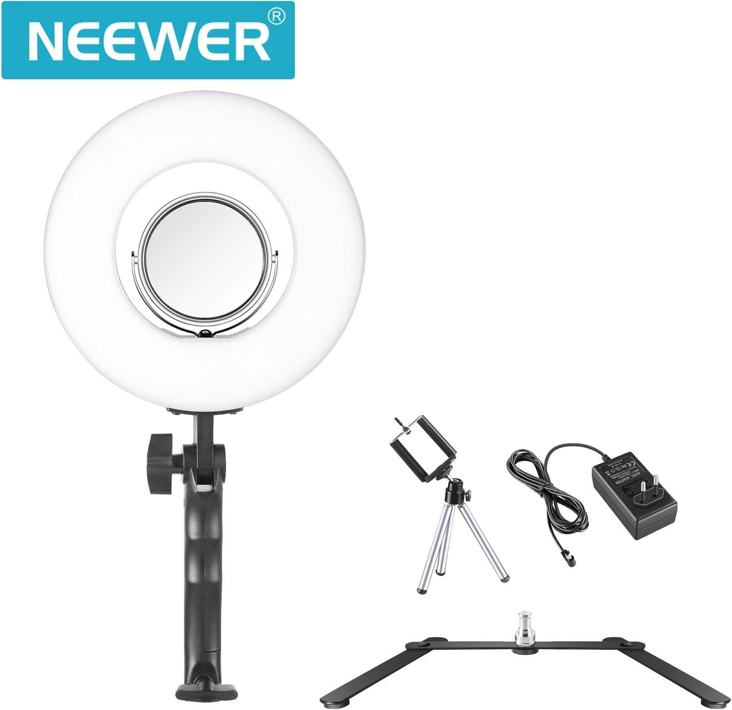 Neewer Luz anular LED SMD Regulable Bicolor Brazo Flexible Base Metal Difusor Soporte Clip para Smartphone filtros de Colores para grabaci/ón de V/ídeo de Plug US//UE