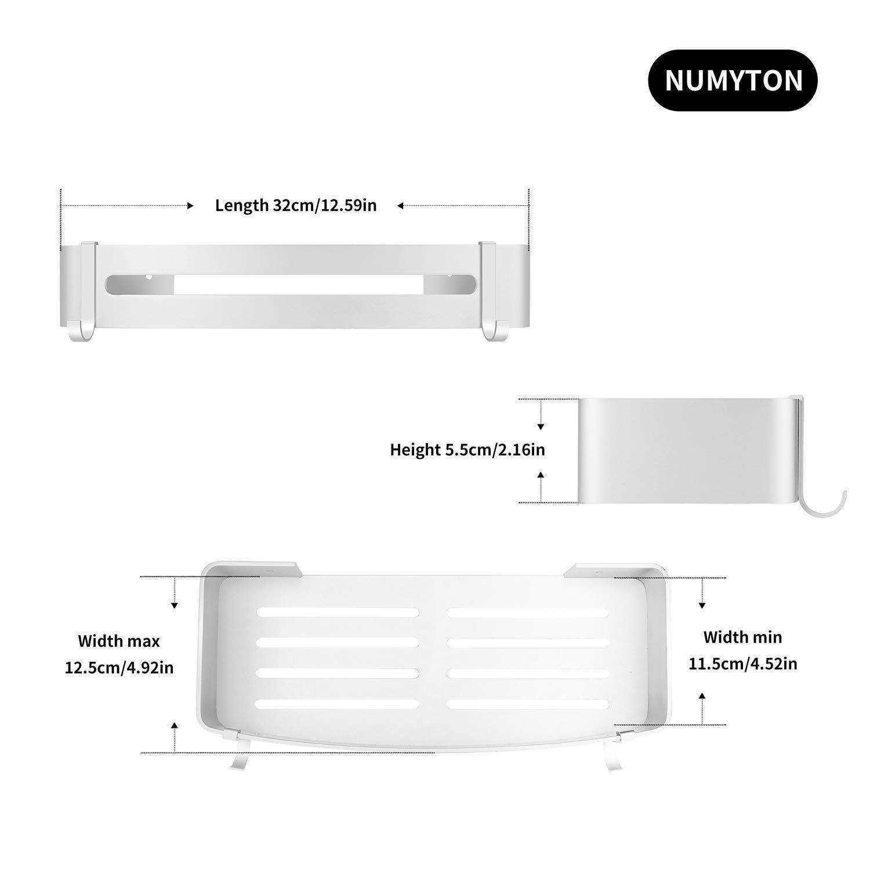 NUMYTON Wandregal Ohne Bohren f/ür Badezimmer aus Aluminium Zweiwege-Installation mit oder ohne Bohren