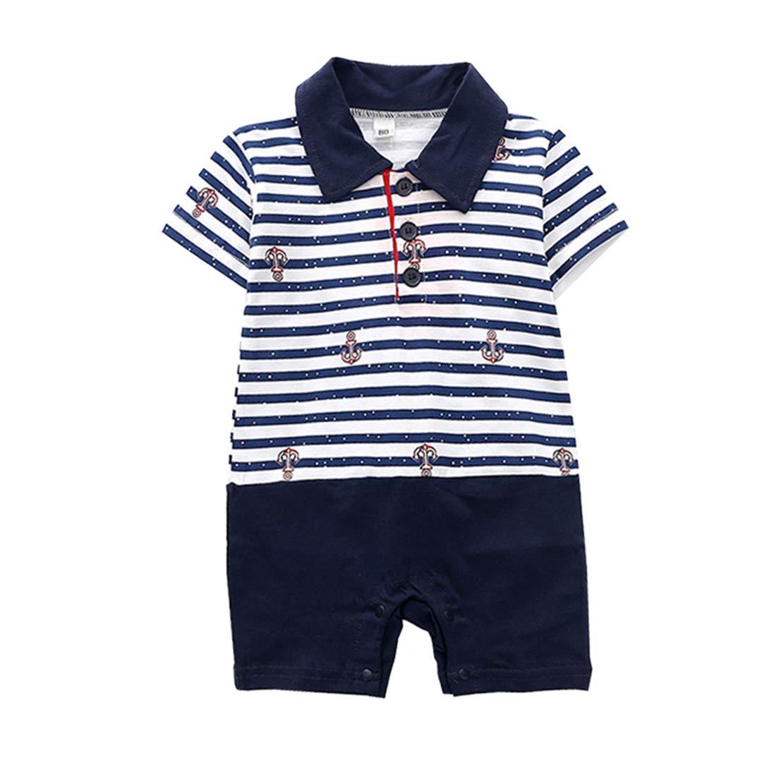 XINXINHAIHE Infant Baby Boy Navy Short Sleeve Button-up Lapel Romper Stripe Print Jumpsuit
