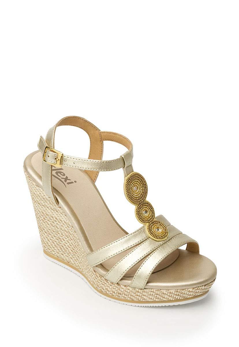 81670c8a Flexi- Sandalia Dorada con Plataforma Sandalia para Mujer: Amazon.com.mx:  Ropa, Zapatos y Accesorios