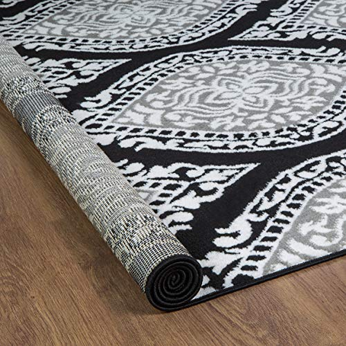 Antep Rugs Kashan King Collection Polypropylene Indoor Area Rug (Gray/Black, 8' x 10')
