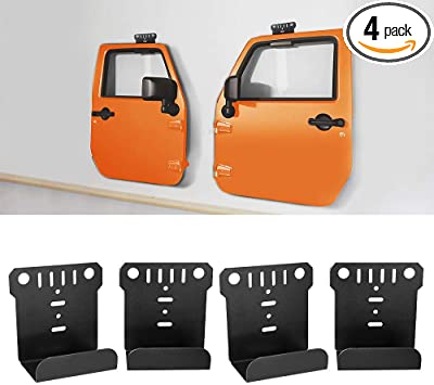 Door Hanger Removable Wall-Mounted Door storage Rack Bracket for All Jeep Wrangler CJ YJ TJ LJ JK JKU JL JLU 4 Pack