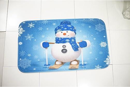 OUNONA 3pcs Christmas Non-Slip Toilet Seat Cover and Rug Set Christmas Bathroom Set