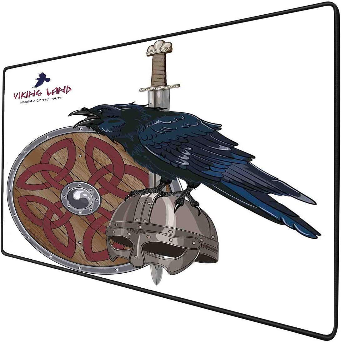 Alfombrilla de ratón para juegos Funcional Viking Raven on Steel Grueso impermeable Alfombrilla de ratón de escritorio Casco Espada nórdica Escudo Guerra Armadura medieval del ejército escandinavo, Ba