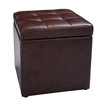 NEW Cube Ottoman Pouffe Storage Box Lounge Seat Footstools With Hinge Top  Brown