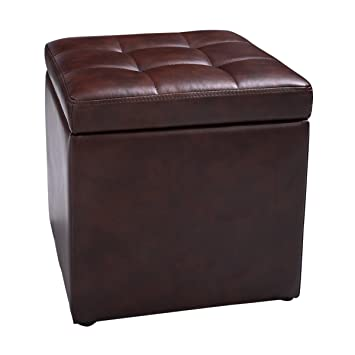 Fantastic Hello World1 New Cube Ottoman Pouffe Storage Box Lounge Seat Footstools With Hinge Top Brown Forskolin Free Trial Chair Design Images Forskolin Free Trialorg