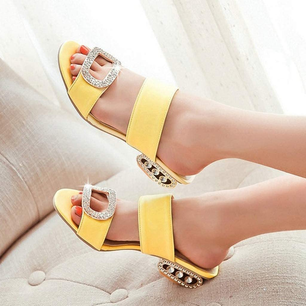 MOTOCO Summer Sandals Women's Fashion Casual Leisure Crystal Rhinestone Fish Mouth Sandals Wedge Heel Slip-On Slides Slippers Shoes Yellow