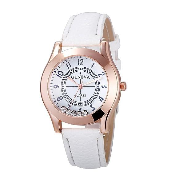 Reloj, poto 2017 nueva moda mujer Lady Ginebra banda de cuero romana cuarzo analógico reloj de pulsera: Amazon.es: Relojes