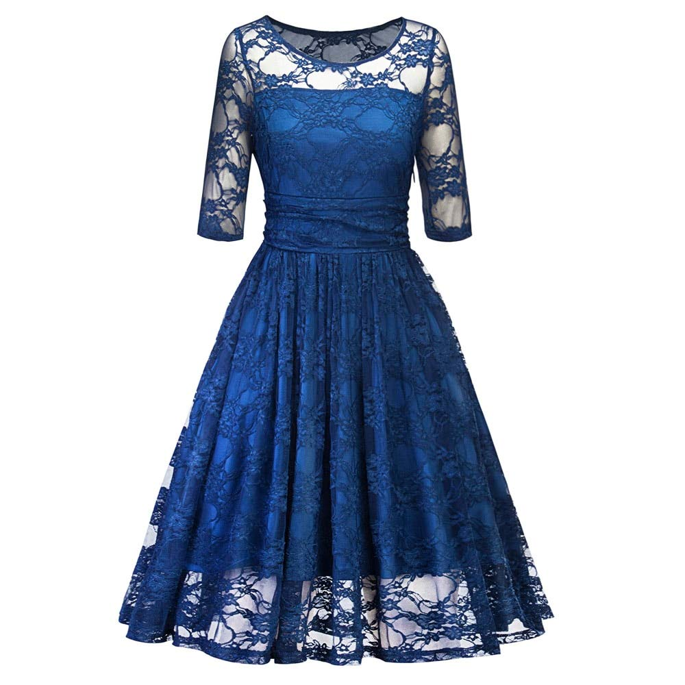 FUZHUANGHM Elegant Style Lace Party Vintage Dress Rockabilly Swing Retro Dress Round Neck Office Casual Audrey 60S Dresses
