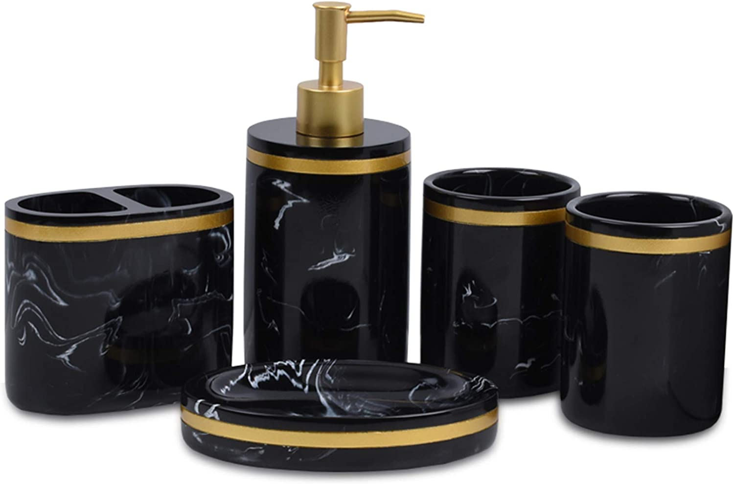 Jung Ford 5-Piece Bathroom Counter Top Accessory Set - Dispenser for Liquid Soap or Lotion, Soap Dish, 2 Tumblers and Toothbrush Holder, Marble Imitated Resin (Black)