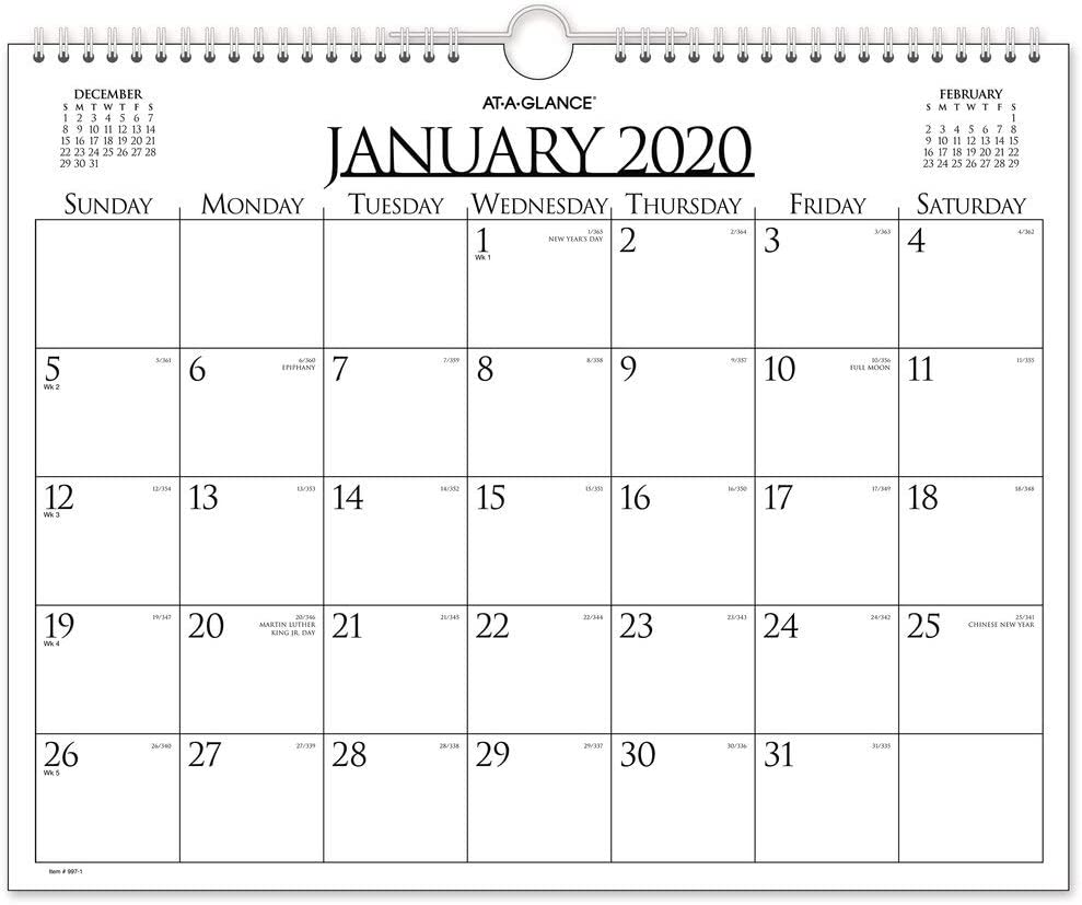 "AT-A-GLANCE 2020 Monthly Wall Calendar, 15"" x 12"", Medium, Wirebound (997-1)"