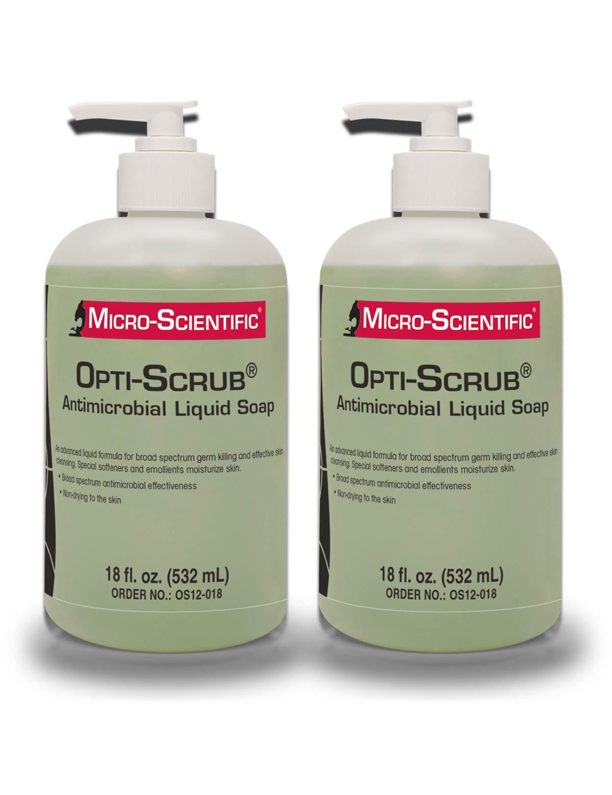 Micro-Scientific (2 Pack 18 Ounce) Opti-Scrub Antimicrobial Liquid Soap, Broad Spectrum, Non-Drying by Micro-Scientific