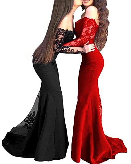 Ly Dress Womens Mermaid Bridesmaid Dresses Long Sleeves Lace Prom