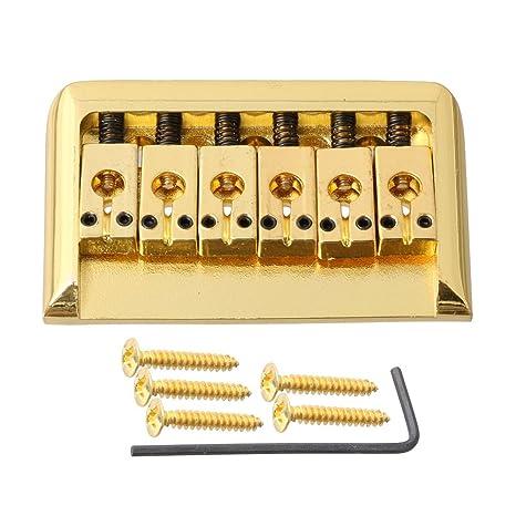 lyws Hardtail fijo de carga superior Hard Tail Puente para guitarra eléctrica, dorado