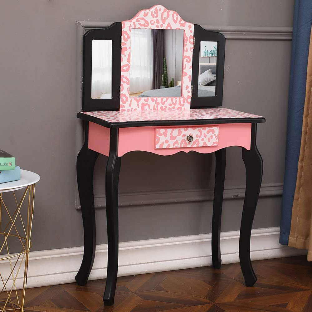 Enjoyable Bonnlo Girls Pink Vanity Set Kids Vanity Table And Stool Princess Make Up Dressing Table With Real Mirrordrawer For Little Girl Lamtechconsult Wood Chair Design Ideas Lamtechconsultcom