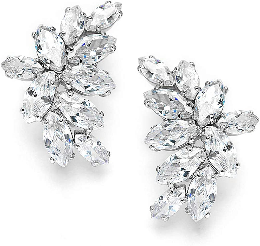 Mariell Bridal Wedding CZ Clip Earrings with Marquis-Cut Clusters - Great Mother of Bride Clip Ons