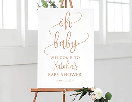 Amazoncom Emily Oh Baby Welcome Sign Rose Gold Baby Shower Welcome