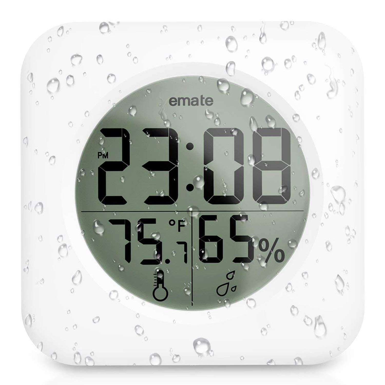 Fashion Waterproof Bathroom Shower Clock Suction Cup Wall Clock with LCD Display, Temperature and Humidity (White)