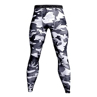 69d75484ba7b4 Allywit Men's Camouflage Compression Pants Workouts Tight Wicking Leggings  (White, ...