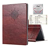 iPad 2 3 4 Vintage Brown BOOK Type Leather Case Flip Cover, Miniko(TM) Modern Slim Book Style Case for iPad 2 3 4 Premium PU Leather Smart Case Auto Sleep Wake Slim Fit Multi Angle Stand