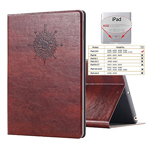 - iPad 2 3 4 Vintage Brown BOOK Type Leather Case Flip Cover, Miniko(TM) Modern Slim Book Style Case for iPad 2 3 4 Premium PU Leather Smart Case Auto Sleep Wake Slim Fit Multi Angle Stand