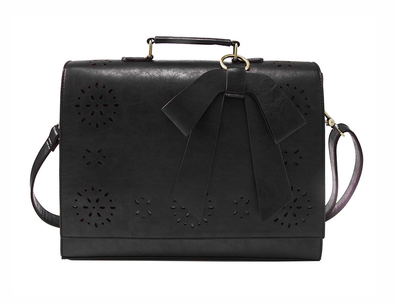 ECOSUSI Ladies PU Leather Laptop Bag Briefcase Crossbody Messenger Bags Satchel Purse Fit 14'' Laptop, Black