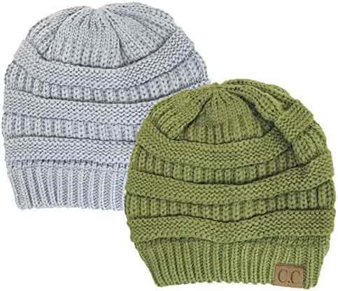 5dbbe8f3364f9d Charcoal Grey Thick Slouchy Knit Oversized Beanie Cap Hat,One Size,2 Pack: