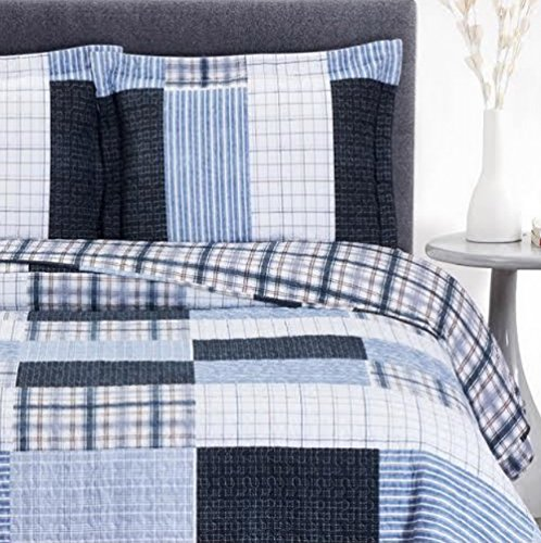 Cottage Coastal Coverlet Quilt Shams Set Oversized King