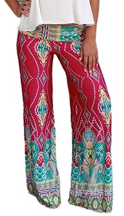 Bigood Pantalon à la Plage Femme Eté Yoga Sport Jogging Fleur Imprimé Mode  Tour Taille 65 023c3065dbb6
