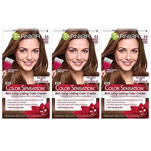 Garnier Color Sensation Hair Color Cream, 5.3 Medium Golden Brown, 3 Count (Packaging May ()